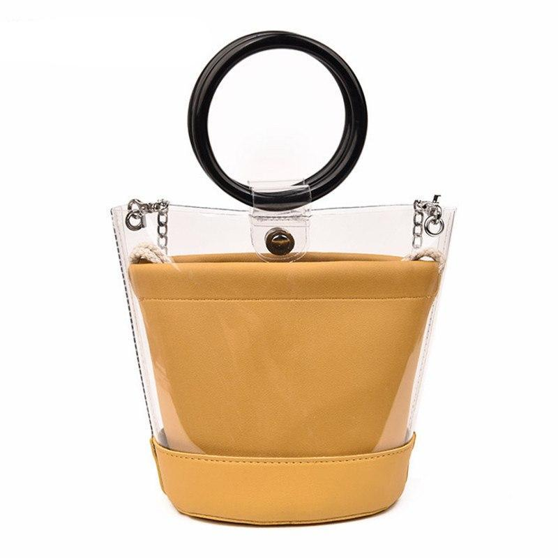 TRANSPARENT DOUBLE LAYERED BAG VEGAN LEATHER