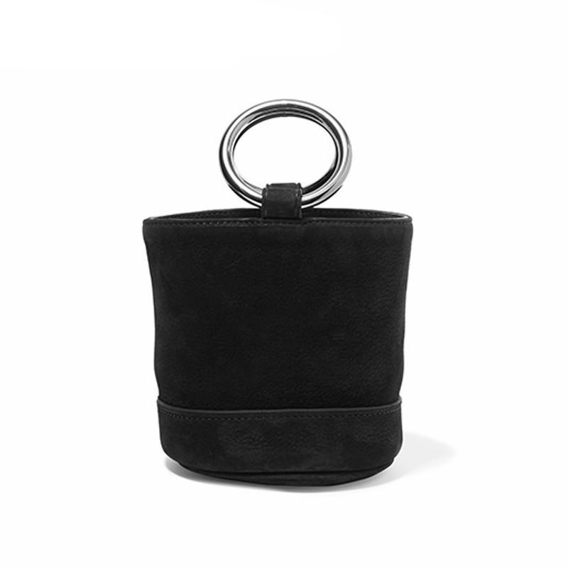 SUEDE SMALL BUCKET BAG VEGAN LEATHER