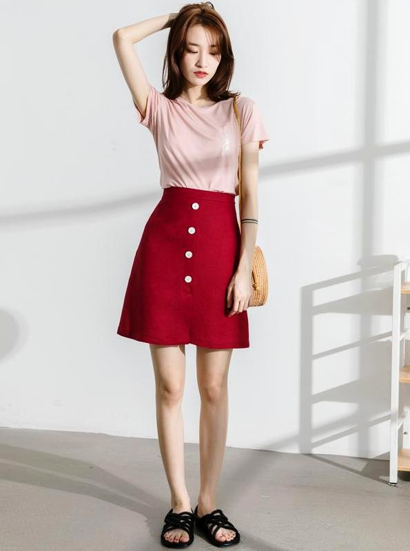 KÕRGE HINNATUD NIPUTATUD RED DENIM SKIRT KOREAN DESIGN - impaviid
