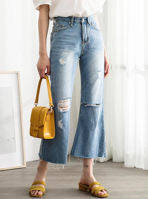 HIGH WAISTED CROPPED DISTRESSED JEANS KOREAN DESIGN - impaviid