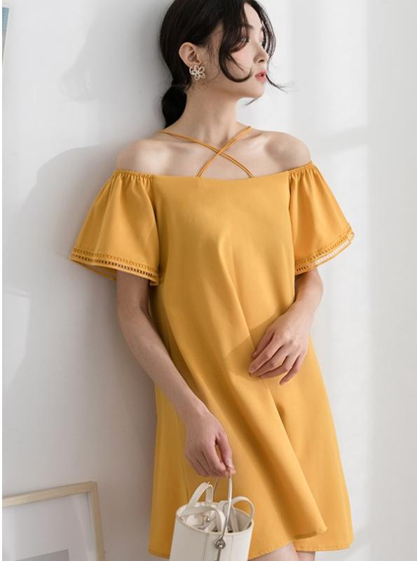 OFF SHOULDER CRISS-CROSS DRESS KOREAN DESIGN - impaviid