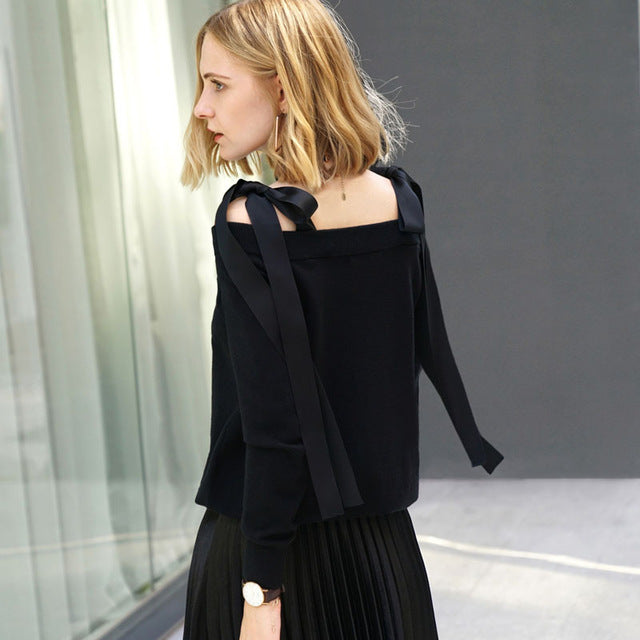 OFF SHOULDER LACED SWEATER
