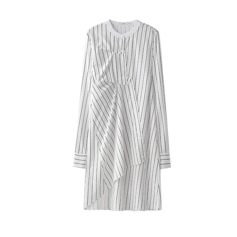 MINIMALISM STRIPED ASYMMETRICAL SHIRT DRESS - impaviid