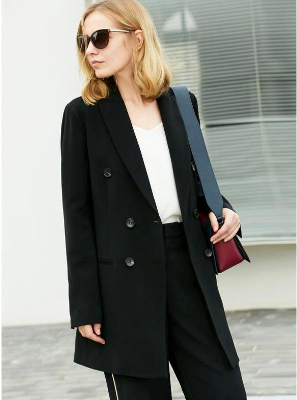 Amii Minimalist 2018 Autumn New Commuter Suit Jacket Office Lady Chic Double Breasted Female Trim Blazer - IMPAVIID