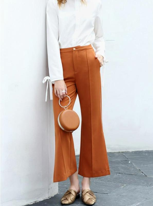 Amii Women Minimalist 2018 Autumn Flare Pants Chic Office Lady Slits Female Trousers - IMPAVIID