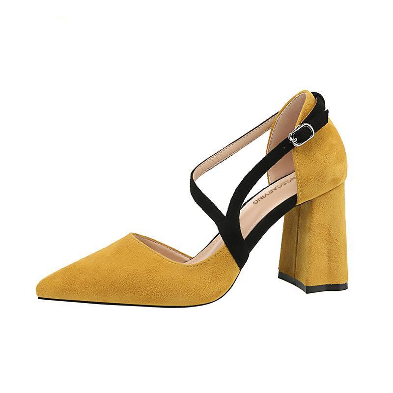 SUEDE POINTED TOE SQUARE HEELS CRUELTY-FREE - impaviid