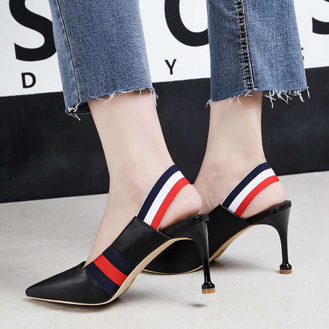 2018 Women Summer 8cm Fetish High Heels Stiletto Sandals Mules Lady Slingback Pumps Female Scarpins Strappy Heels Party Shoes - IMPAVIID