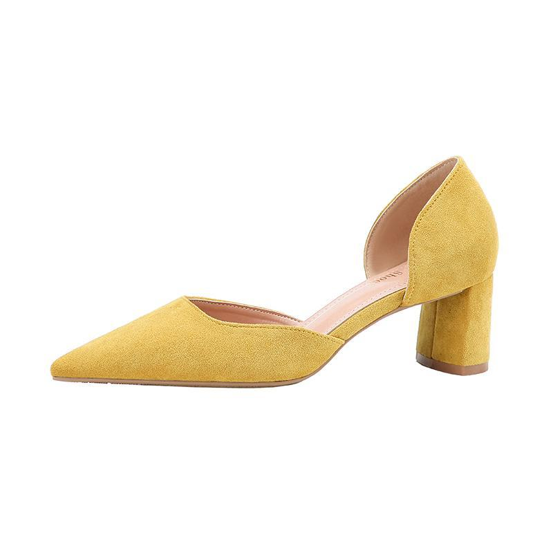 2018 Women Summer 5.5cm Fetish High Heels Yellow Sandals Mules Lady Thick Heels Pumps Female Escarpins Block Heels Party Shoes - IMPAVIID