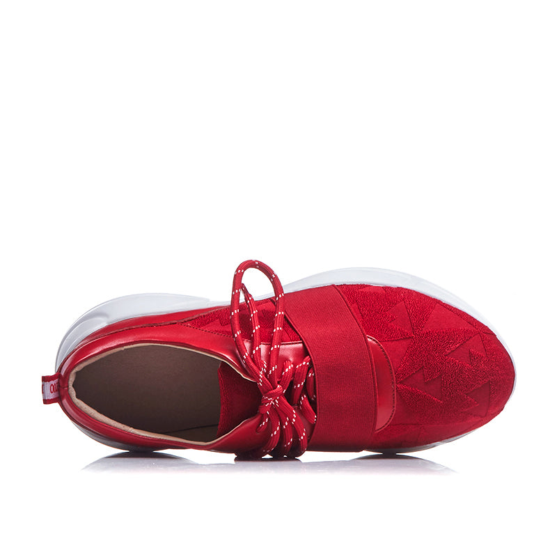 RED SUEDE SNEAKERS ON A PLATFORM CRUELTY-FREE - impaviid