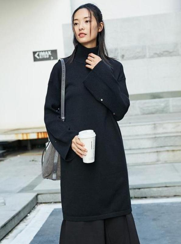 TURTLENECK THICK KNITTED SWEATER DRESS