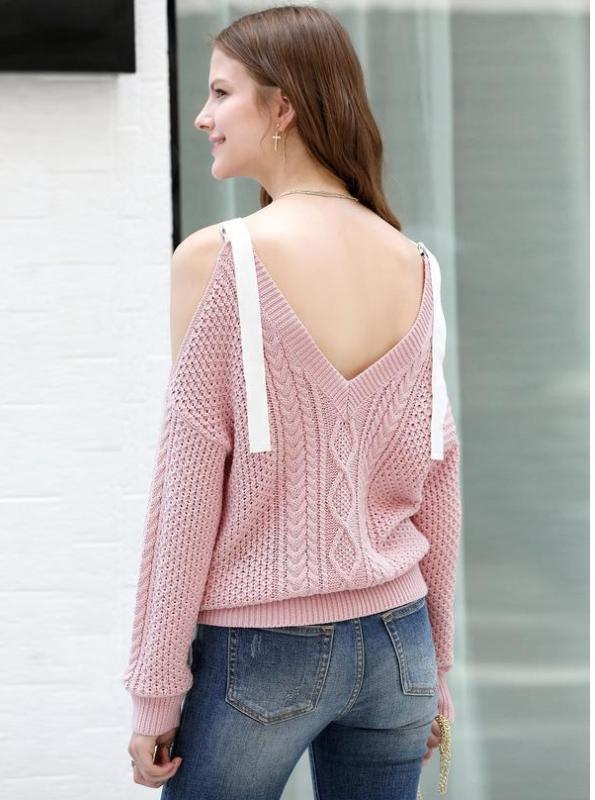 OFF SHOULDER LACED UP CROCHETED SWEATER