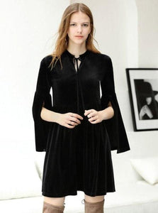 FLARE SLEEVE MINI VELVET DRESS