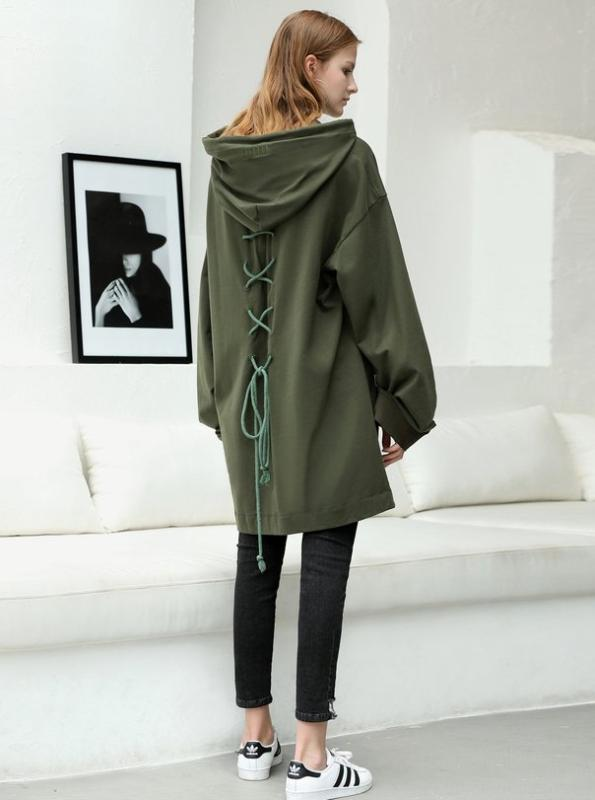 CHIC OVERSIZED HOODIE WITH LACED UP BACK