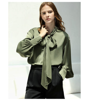 Amii Office Lady Women 2018 Autumn Blouse Chic Bow Tie High Quality Original Design Female Blouses Shirts - IMPAVIID