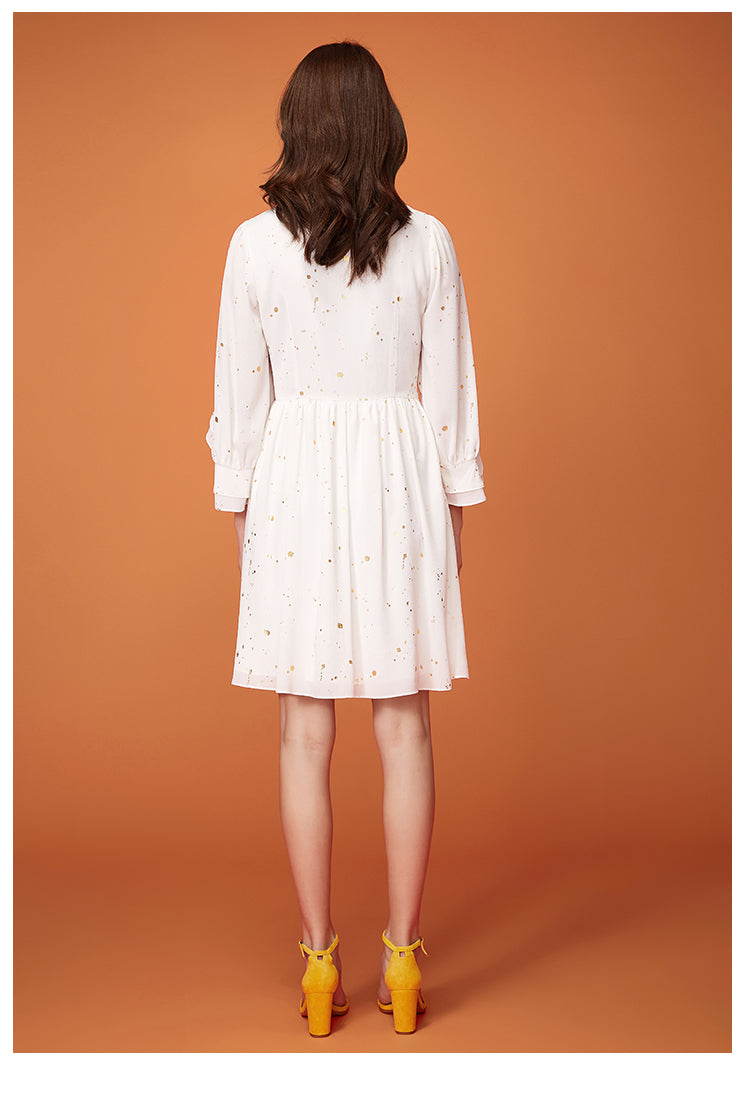 WHITE & GOLD FLARE SLEEVES DRESS - impaviid