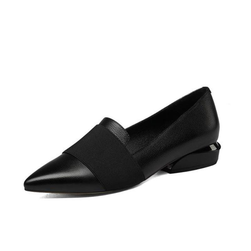 LOW HEEL PINTED TOE FORMAL SHOES VEGAN LEATHER - impaviid