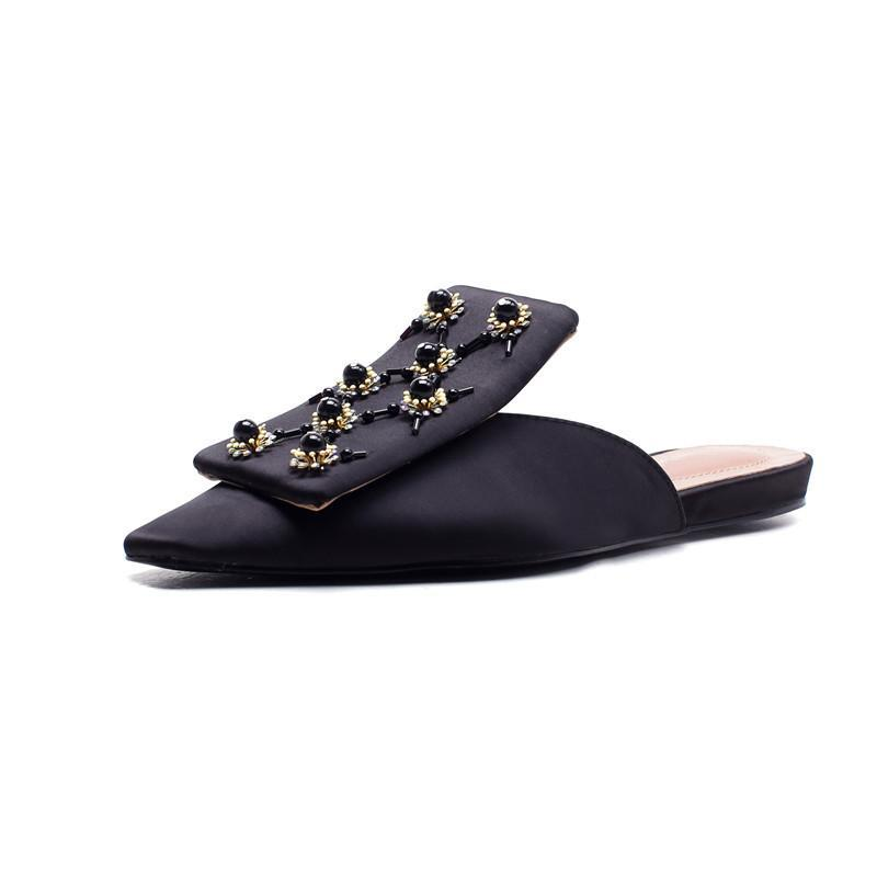 BLACK SATIN EMBELLISHED FLAT MULES VEGAN LEATHER - IMPAVIID