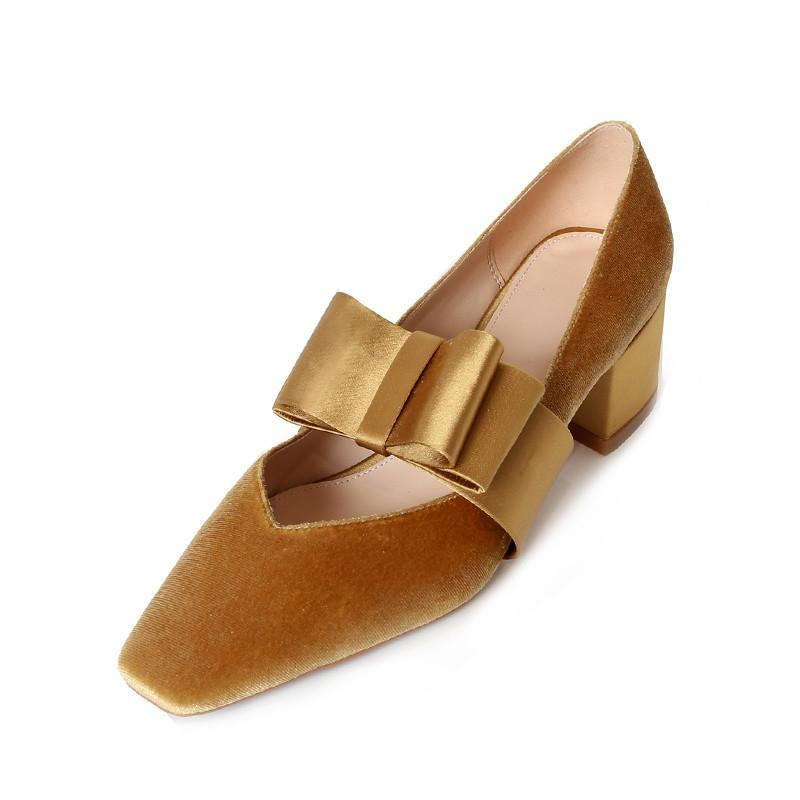 VELVET SQUARE HEELS SHOES WITH A BOW VEGAN LEATHER - impaviid