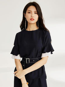 BLACK CHIFFON DOUBLE LAYERED FORMAL BLOUSE - IMPAVIID