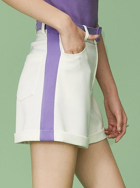PURPLE SIDE STRIPE WHITE WIDE LEG SHORTS