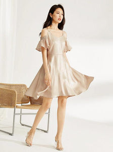 LOOSE GOLD CHIFFON PARTY JURK - impaviid