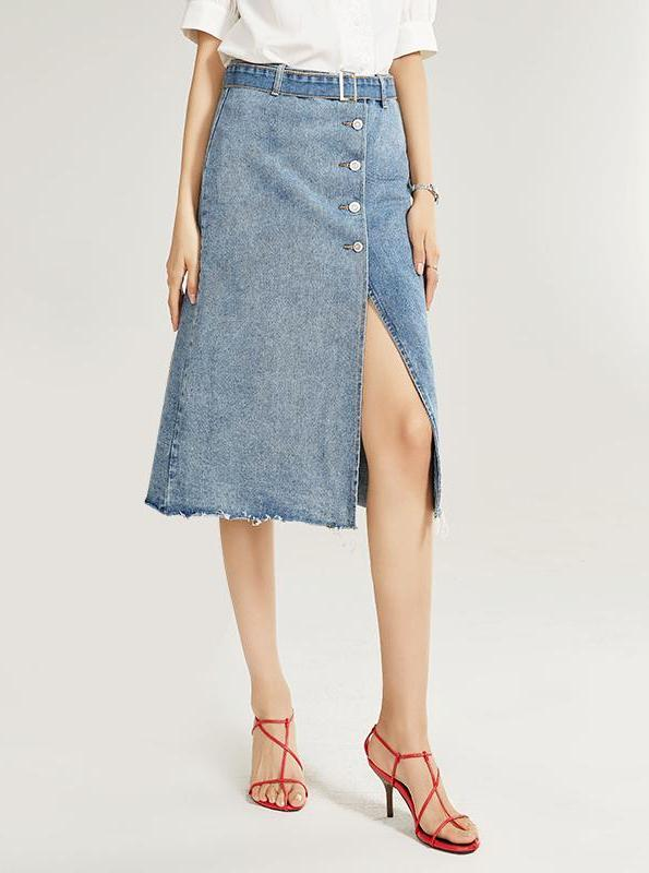 90 STYLE ASYMMETRICAL MIDI DENIM SKIRT - IMPAVIID