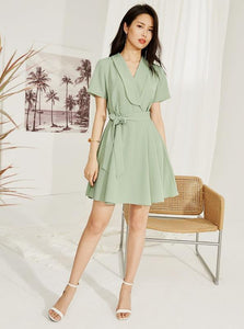 GREEN GREEN WRAP MINI DRESS - impazid