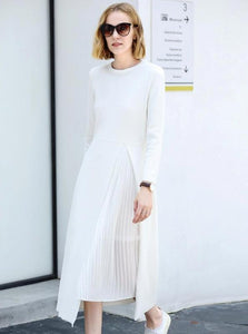 MINIMALISM MID-CALF LONG SLEEVED DRESS - impaviid