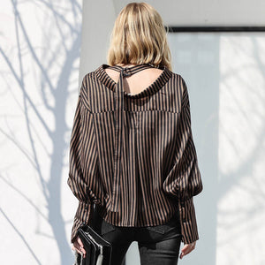 MINIMALISM LANTERN SLEEVE CHIC FORMAL BLOUSE