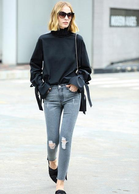 CHIC RUFFLED BLOUSE WITH BOW SLEEVES - IMPAVIID