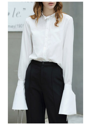 LACE SPLICE CHIC BLOUSE WITH BOW SLEEVES