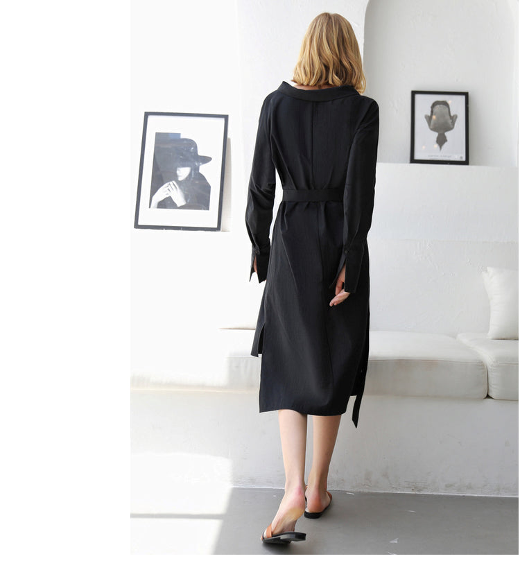 MINIMALISM OVERSIZED ASYMMETRICAL SHIRT DRESS - impaviid