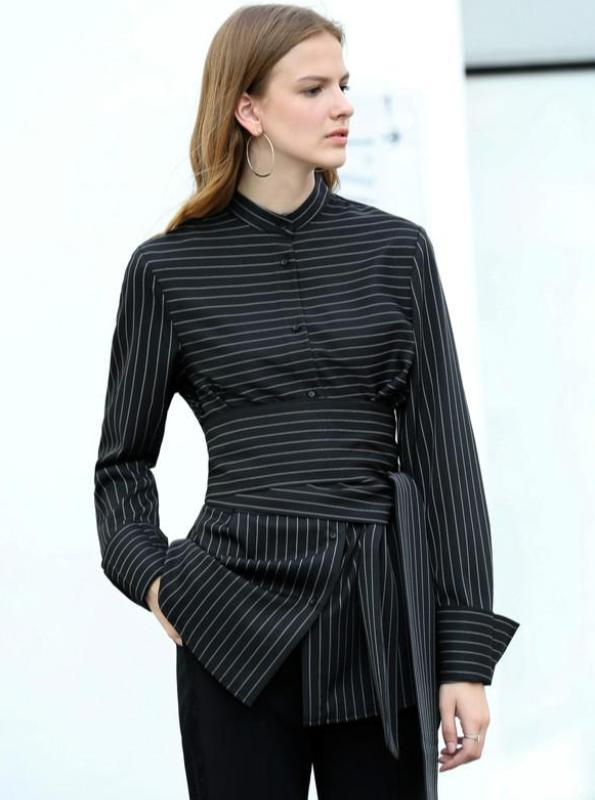 CHIC MINIMALISM FORMAL SHIRT WITH CORSET STYLED BELT - IMPAVIID