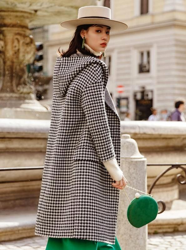 GINGHAM MAXI COAT WITH A HOOD