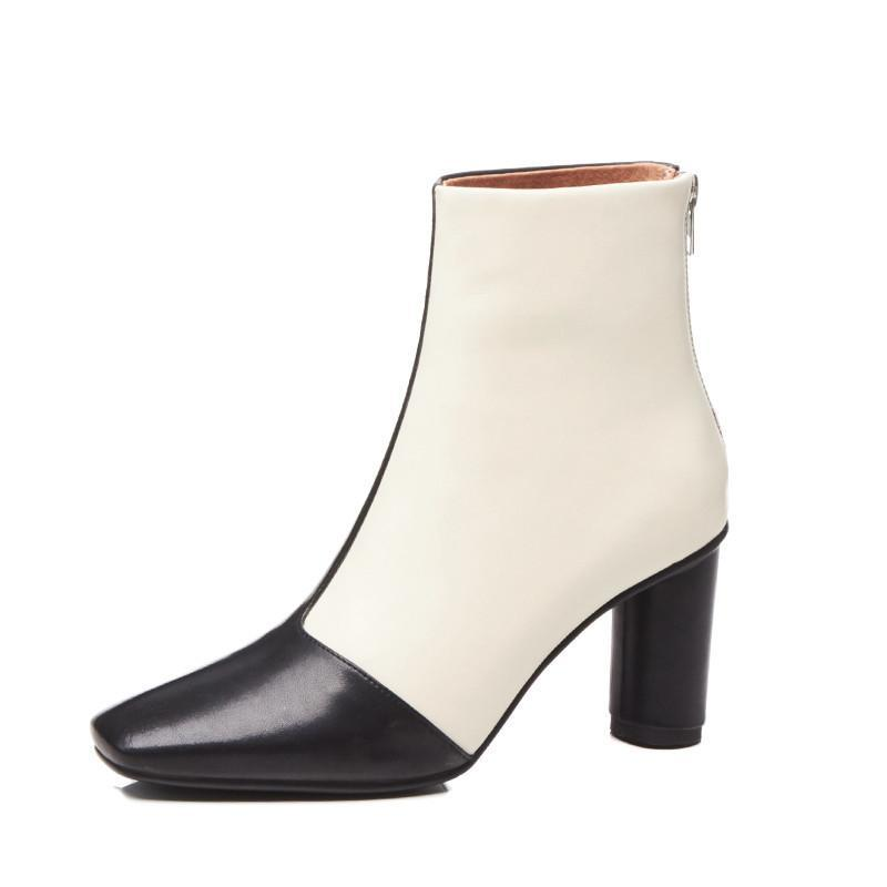 DOUBLE COLOR ANKLE BOOTS SQUARE HEEL