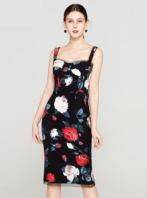 FLORAL BODYCON SLIM DRESS