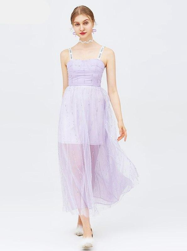 SEQUINED LILAC MESH MAXI DRESS