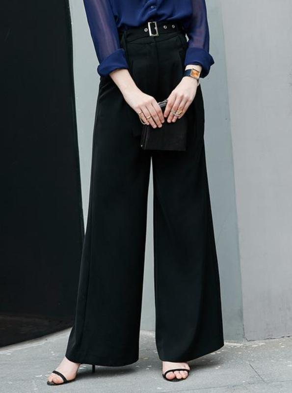 FORMAL HIGH WAISTED WIDE LEG LONG PANTS