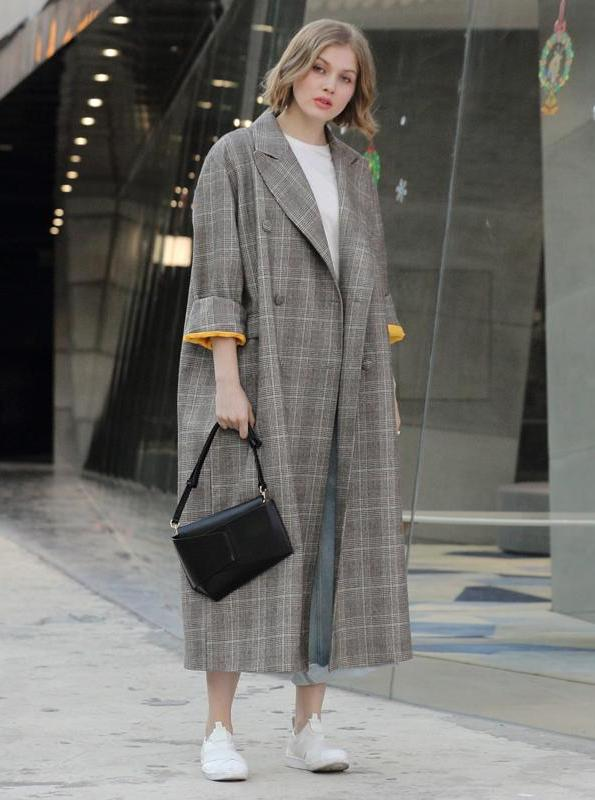 OVERSIZED EXTRA LONG PLAID TRENCH COAT 90'S INSPIRED