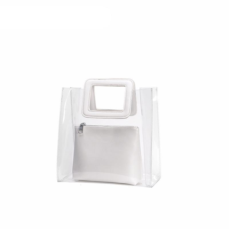 WHITE PLASTIC SMALL TOTE VEGAN LEATHER