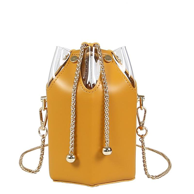 ROUND SHOULDER BAG WITH A CHAIN VEGAN LEATHER