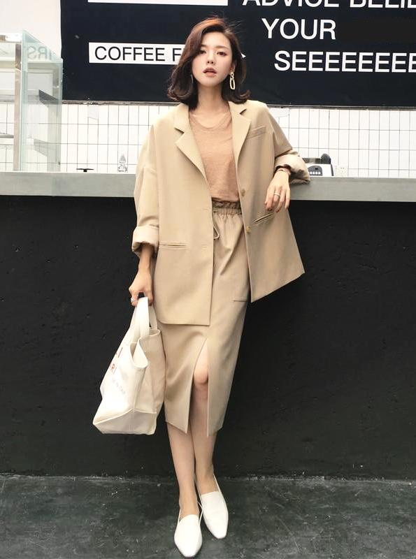 2 PIECE SINGLE BREASTED BLAZER + SKIRT OR PANTS