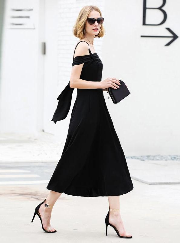 MINIMALISM ELEGANT OFF SHOULDER MIDI DRESS