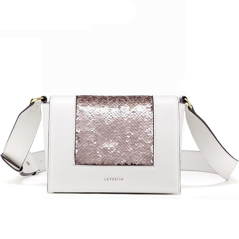 SEQUINED WHITE FLAP BAG