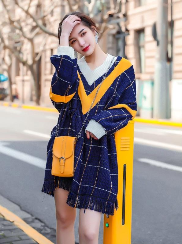 OVERSIZED RIPPED KNITTED SWEATER DRESS