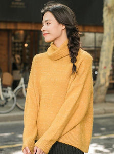 YELLOW FLUFFY SWEATER WITH TURTLENECK