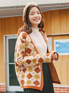RETRO PLAID THICK CARDIGAN