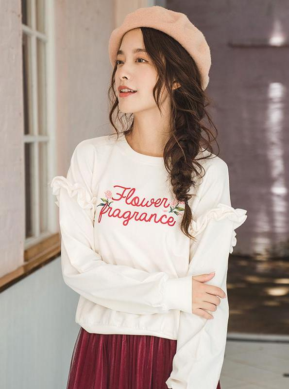 RUFFLED EMBROIDERED WHITE SWEATER