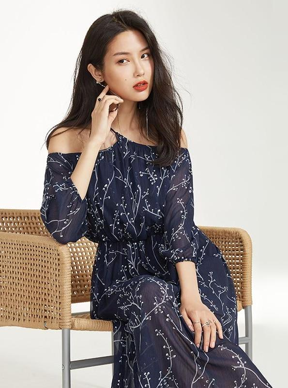 OFF SHOULDER FLORAL SHEER DRESS