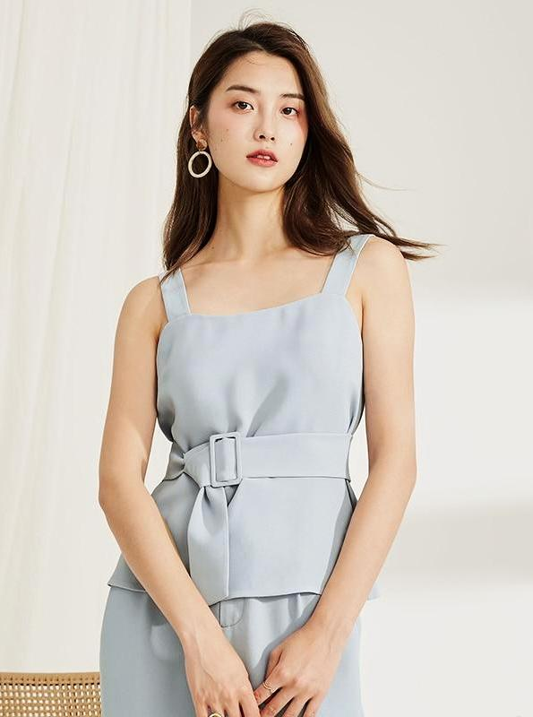 BLUE FORMAL TOP WITH A BELT